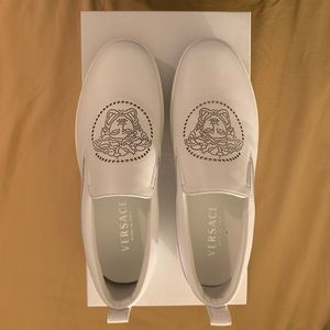 Versace Perforated Medusa Slip On Shoes